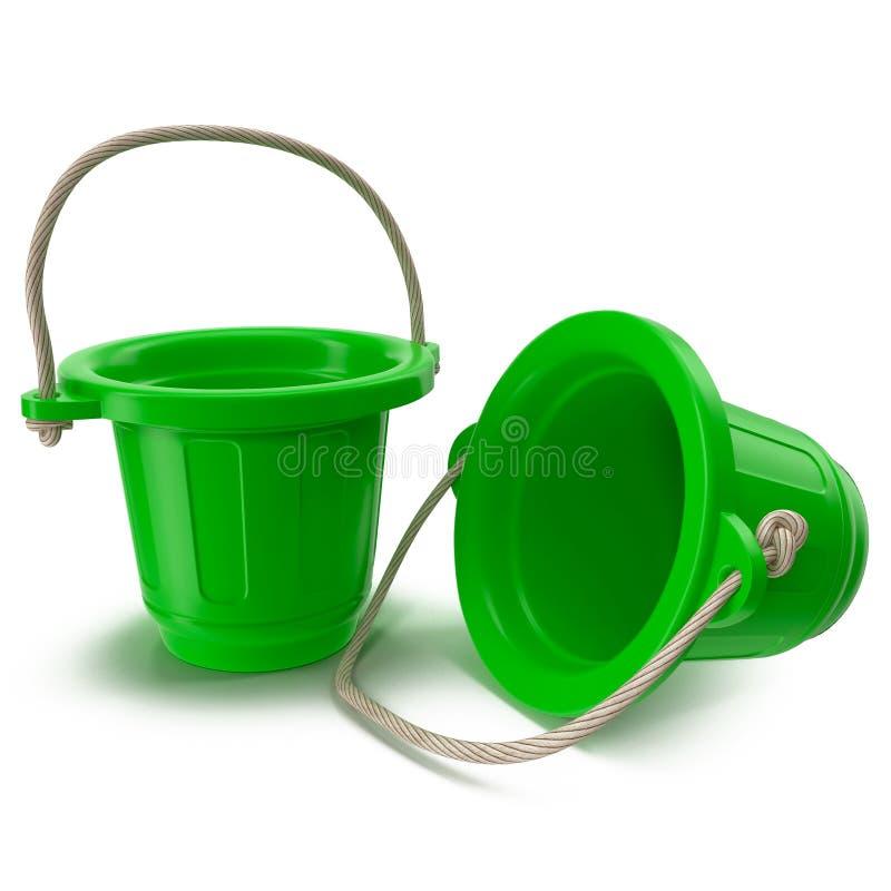 Zielony plastikowy wiadro z rękojeścią w górę i na dół na białej 3D ilustraci, obrazy royalty free
