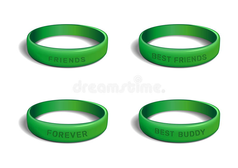 Zielony plastikowy wristband ustawiający dla przyjaźń dnia ilustracji