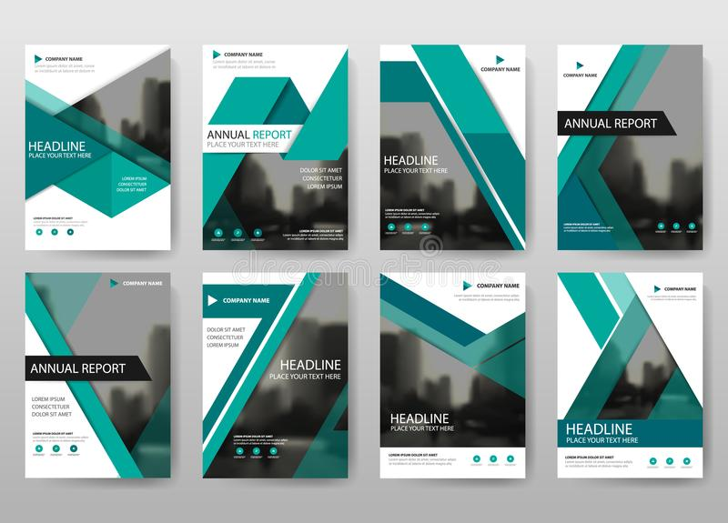 Zielony plika sprawozdania rocznego broszurki ulotki projekta szablonu wektor, ulotki okładkowej prezentaci abstrakcjonistyczny p ilustracja wektor