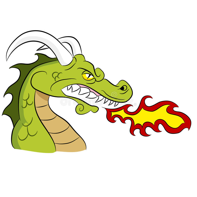Zielony Pożarniczy oddychanie smok royalty ilustracja