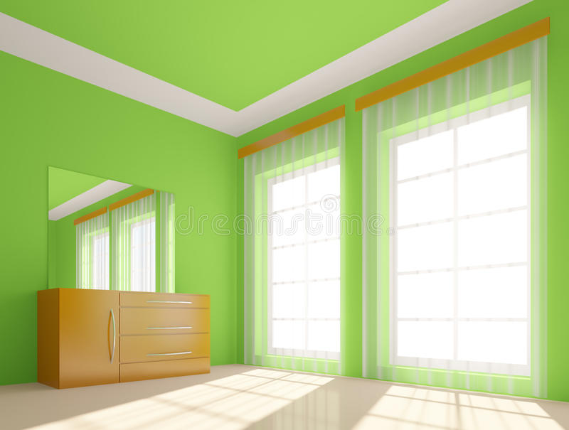 zielony pokój ilustracji