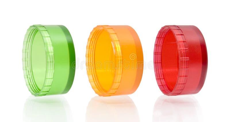 zielony pokrywkowy plastikowy czerwony kolor żółty zdjęcie stock