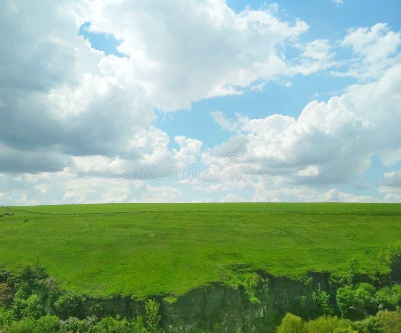 Zielony pole w wio?nie na ciep?ym chmurnym dniu obrazy royalty free