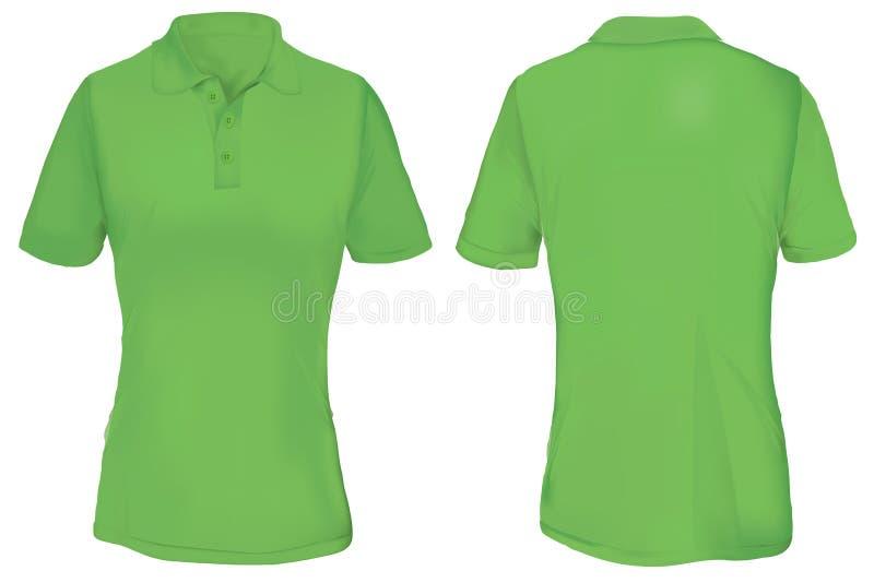 Zielony polo koszula szablon dla kobiety ilustracji