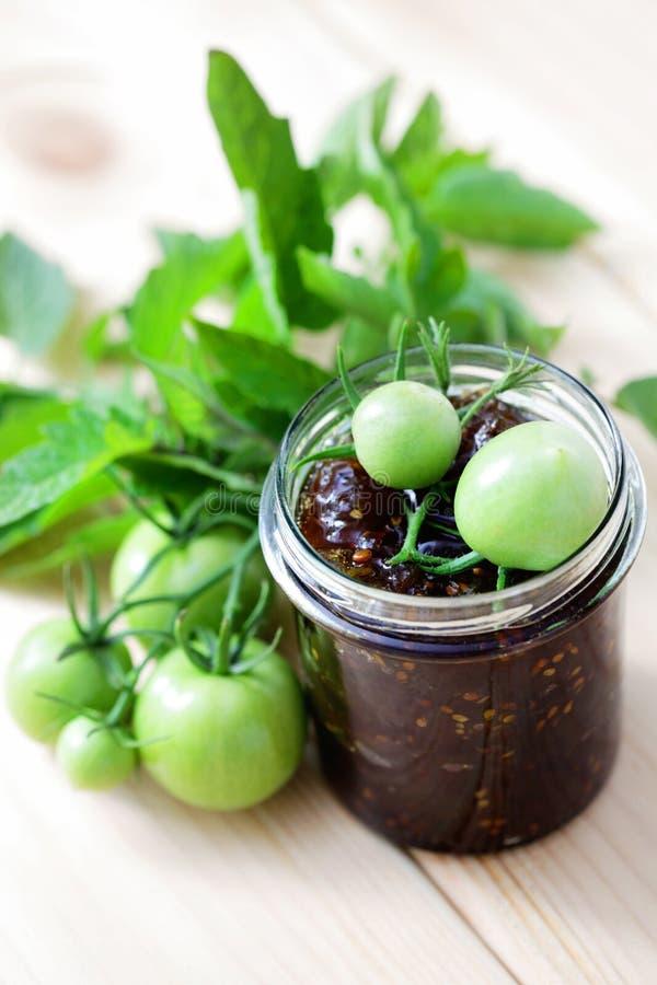 Zielony pomidoru dżem fotografia stock