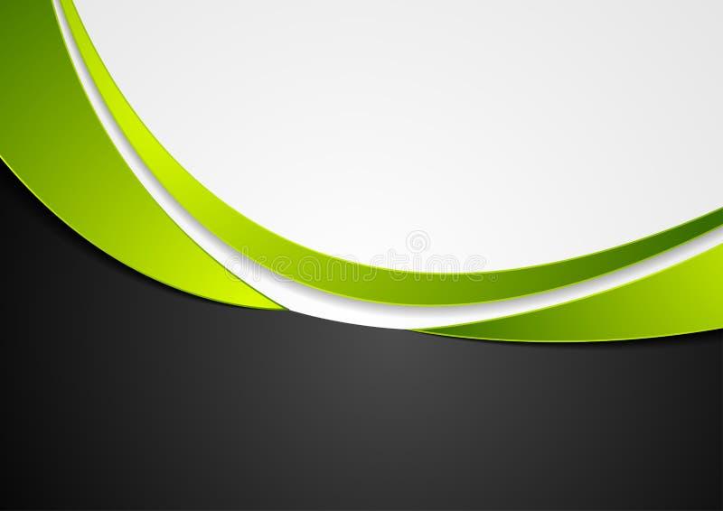 Zielony, popielaty i czarny abstrakcjonistyczny falisty tło, ilustracja wektor