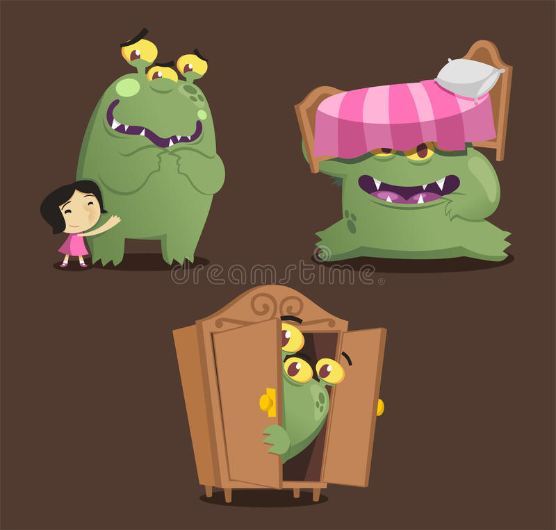 Zielony potwór kreskówki akci set royalty ilustracja