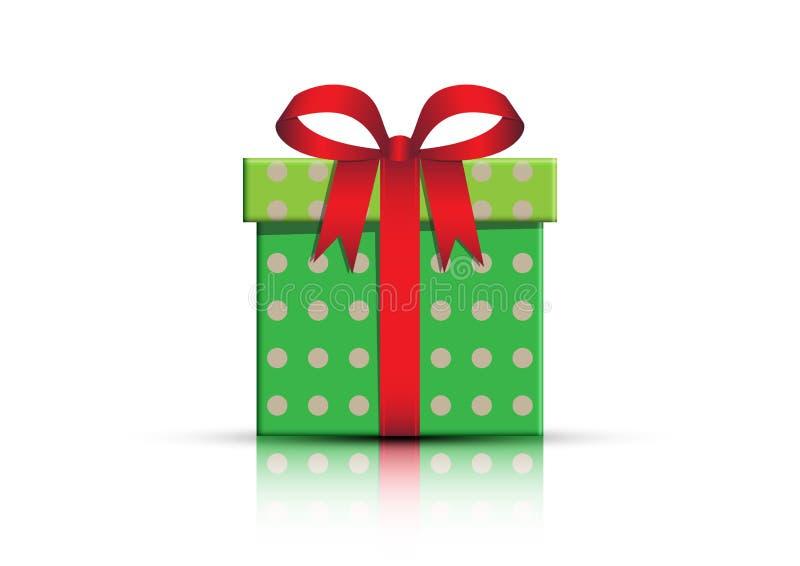 Zielony prezenta pudełko z czerwonym faborkiem i łęk na białym tle ilustracji