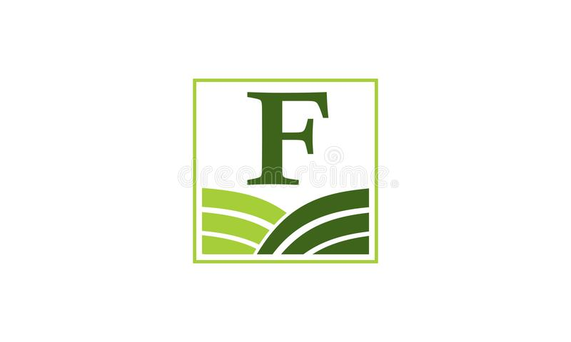 Zielony projekta rozwiązania centrum inicjał F ilustracja wektor