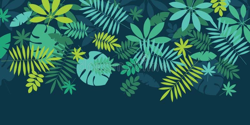 Zielony prosty tropikalny liścia projekta element royalty ilustracja