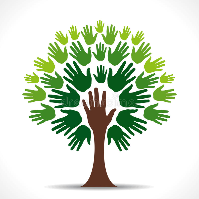 Zielony ręki drzewo ilustracji