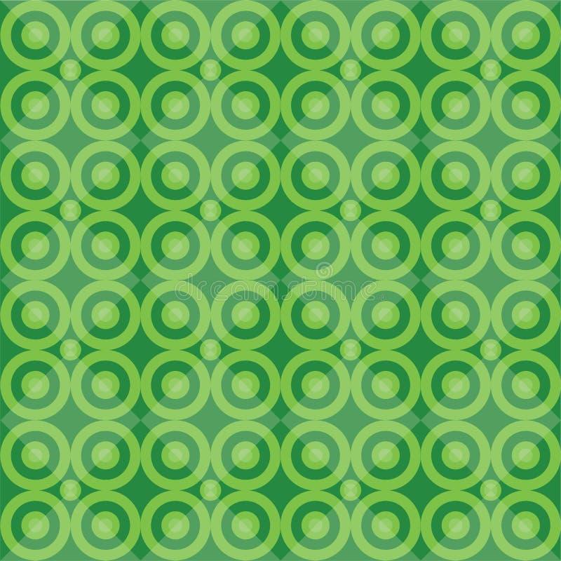 Zielony retro bezszwowy wzór z okręgu blackground ilustracja wektor