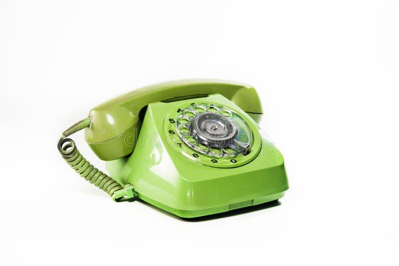 Zielony retro telefon odizolowywający na białym tle, praca z clippimg ścieżką obraz stock