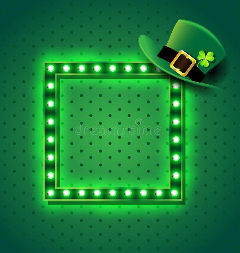 Zielony retro znak z St Patrick kapeluszem ilustracji