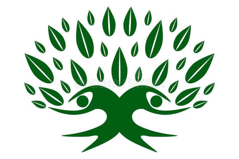Zielony rodzinny drzewo życie ilustracji