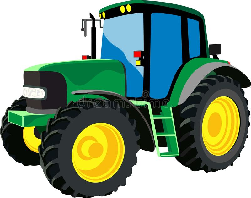 Zielony rolniczy ciągnik ilustracji