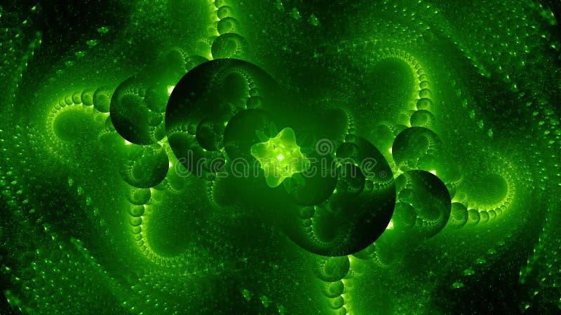 Zielony rozjarzony obcy technologia komputer wytwarzał abstrakcjonistycznego tło ilustracji