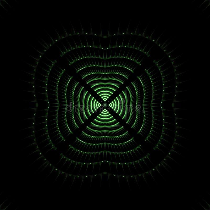 Zielony rozjarzony obrazu cyfrowego celu absctract przedmiot royalty ilustracja