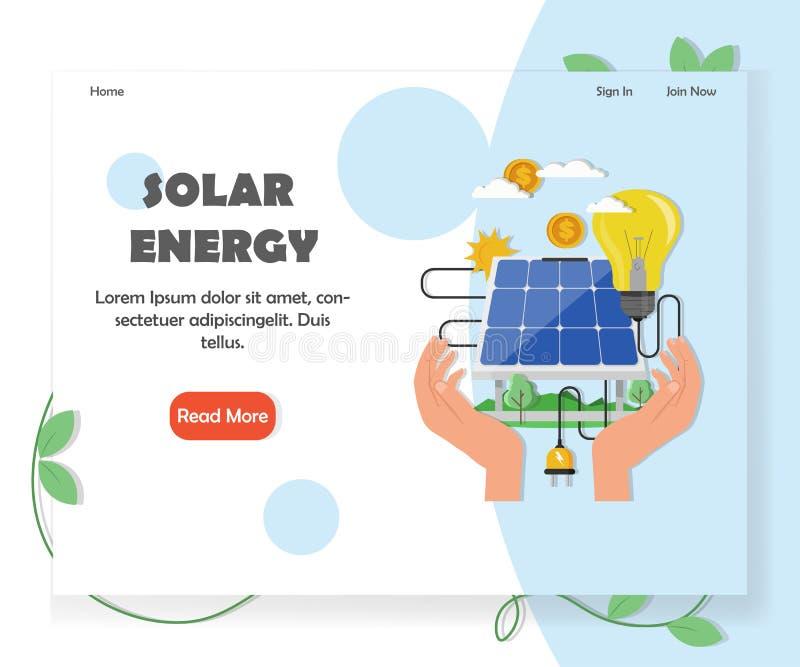 Zielony słoneczny i energia odnawialna strony internetowej wektoru szablon ilustracja wektor