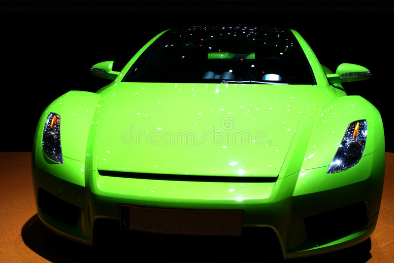 zielony samochód sportowy zdjęcia stock