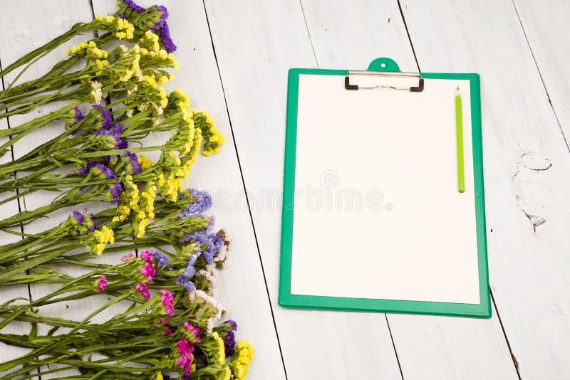 Zielony schowek z pustym koloru żółtego papierem, ołówek, kolorowy kwiat fotografia stock