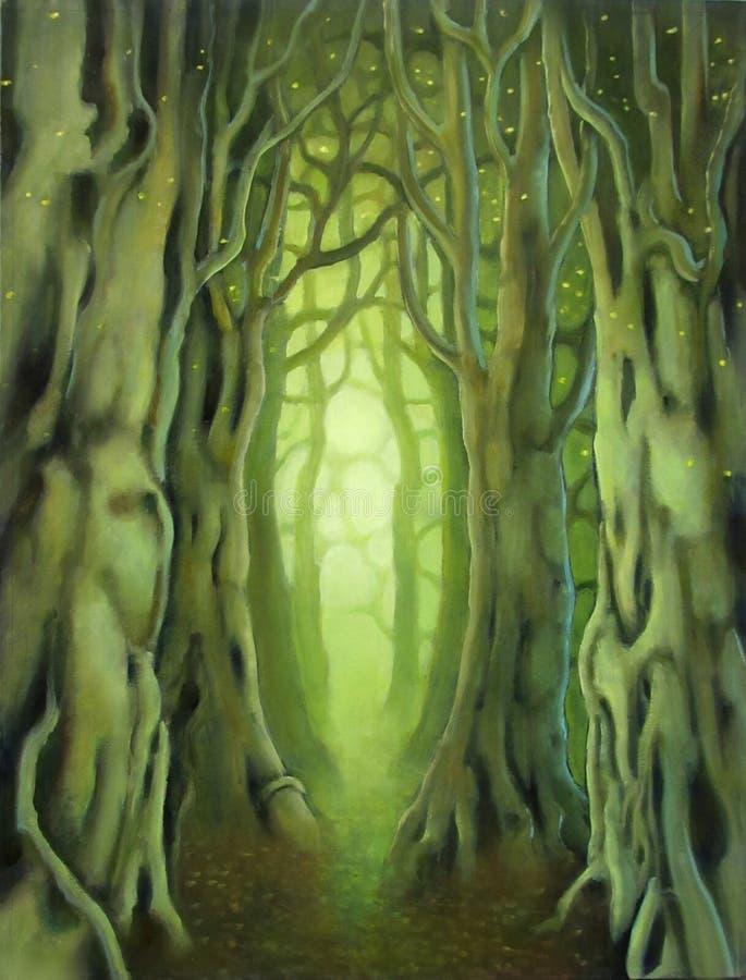 Zielony serce drewna ilustracja wektor