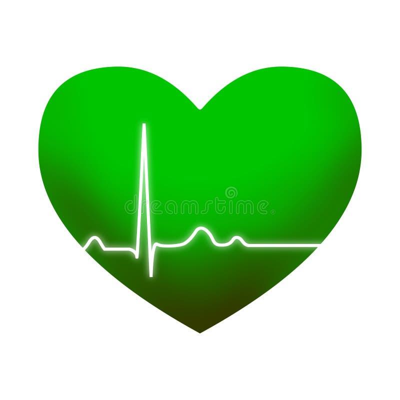 Zielony serce z ECG royalty ilustracja