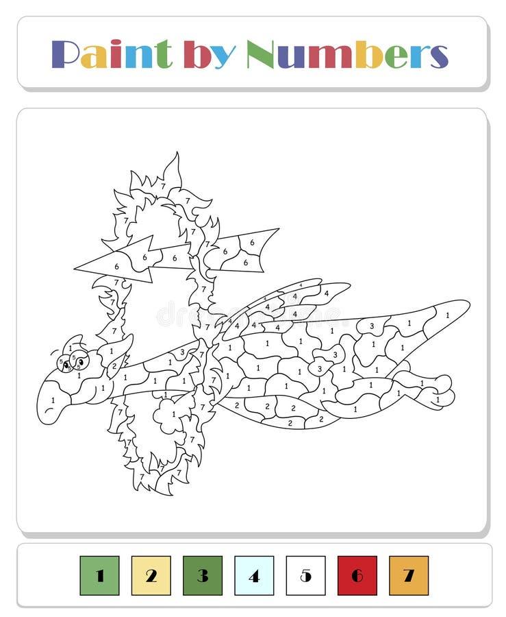 Zielony smok przelatuje przez krąg ognia Kolorowanie według liczby gier edukacyjnych dla dzieci ilustracja wektor