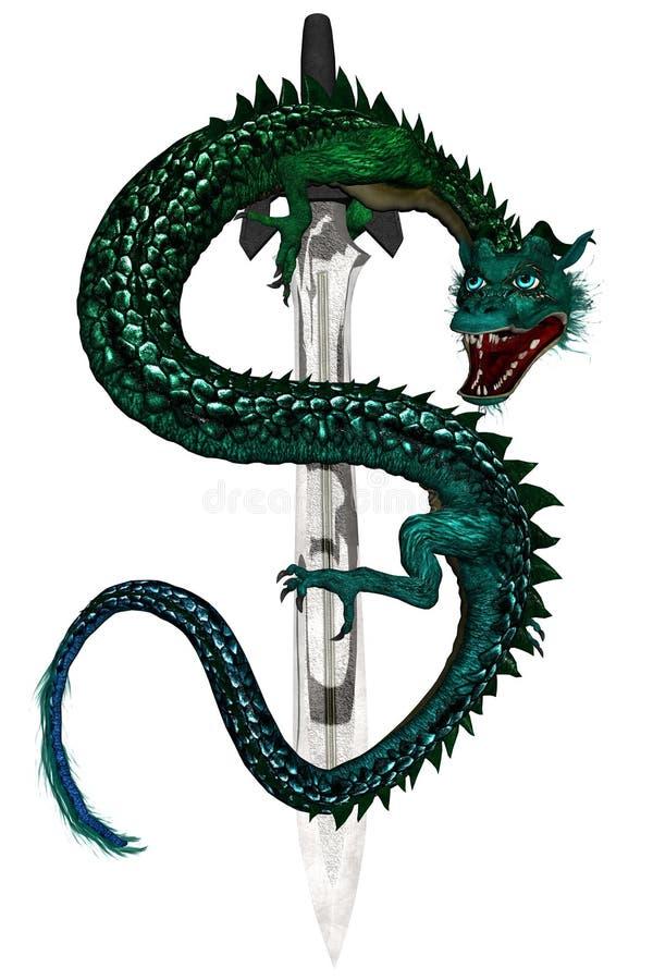 zielony smok wschodniej royalty ilustracja
