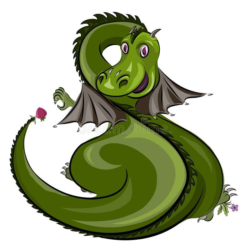 Zielony smok z truskawką ilustracji