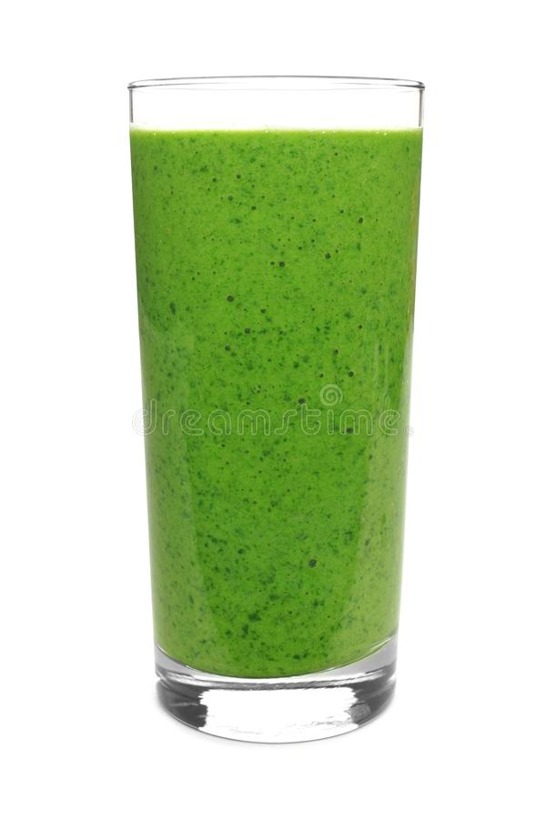 Zielony smoothie odizolowywający na bielu obrazy royalty free