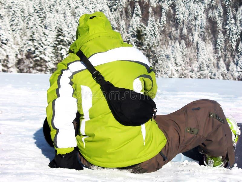zielony snowboarder fotografia royalty free