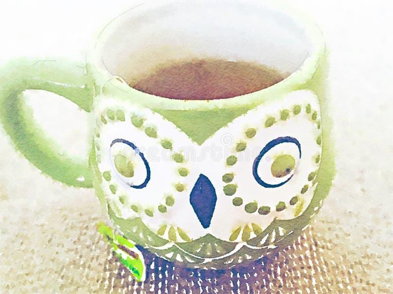 Zielony sowa kubek z herbacianą akwareli wciąż życia ilustracją royalty ilustracja