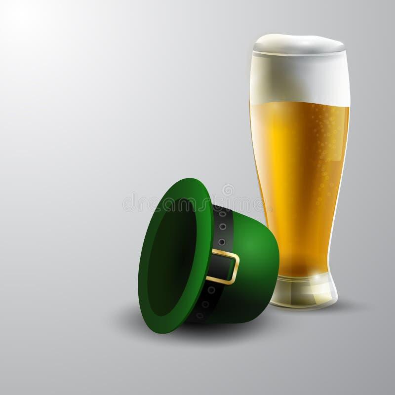 Zielony St Patrick dnia kapelusz odizolowywający na białym tle ilustracja wektor
