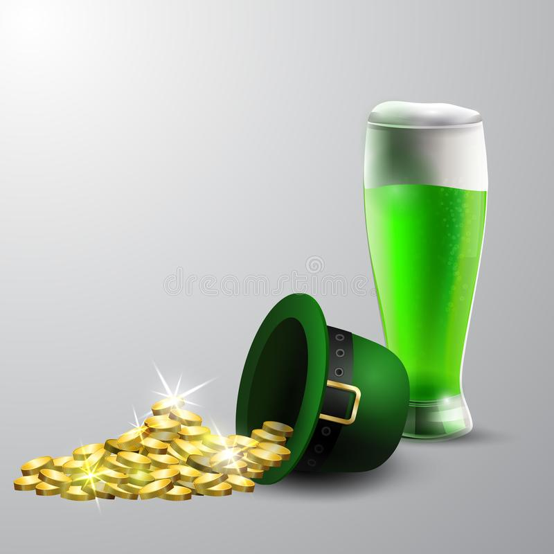 Zielony St Patrick dnia kapelusz odizolowywający na białym tle ilustracji