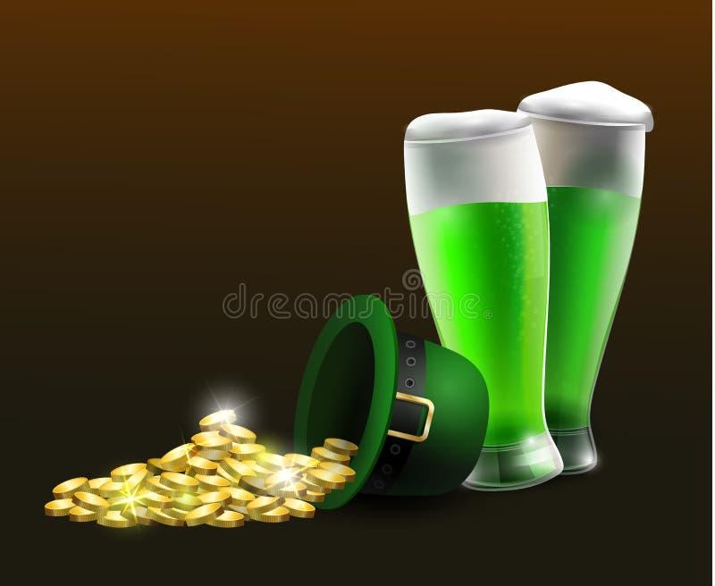 Zielony St Patrick dnia kapelusz odizolowywający na białym tle royalty ilustracja