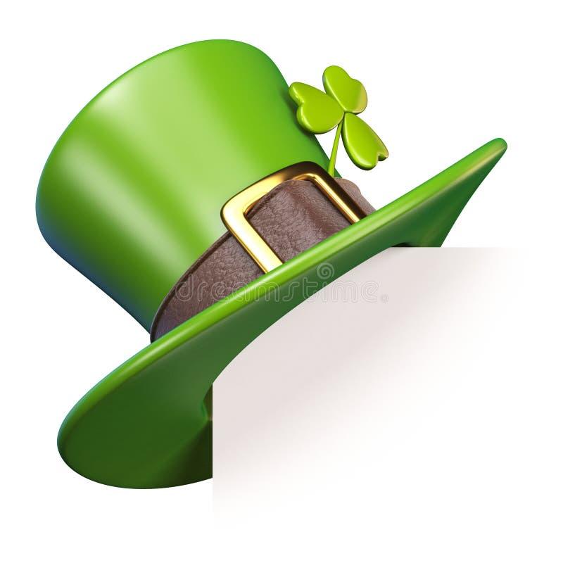 Zielony St Patrick ` s dnia kapelusz z koniczyna papieru kątem 3D ilustracji