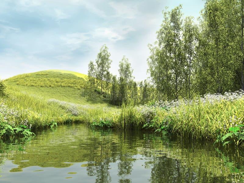 Zielony staw lasem ilustracji