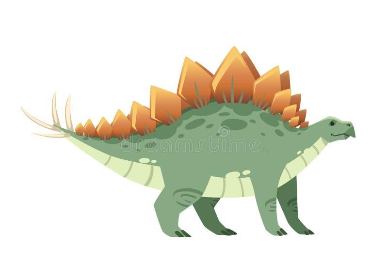 Zielony stegozaur ?liczny dinosaur, kresk?wka projekt P?aska ilustracja odizolowywaj?ca na bia?ym tle Zwierz? jurassic ?wiat royalty ilustracja