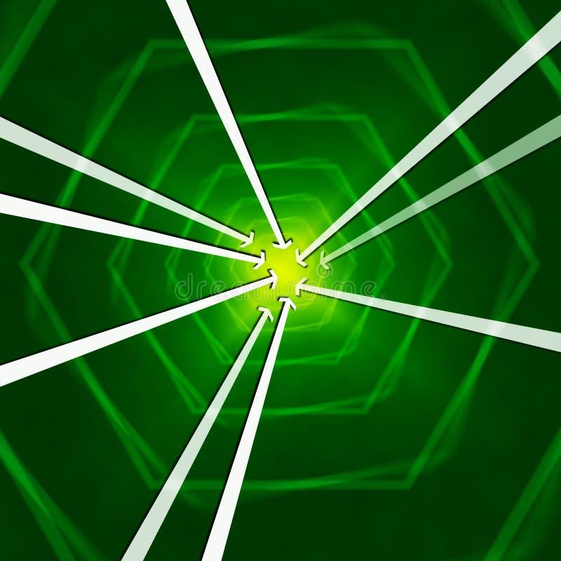 Zielony sześciokąta tło Pokazuje strzała Wrotne Lub W royalty ilustracja