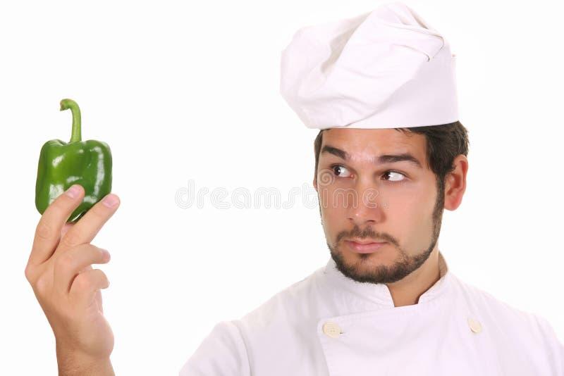 zielony szef kuchni pieprz obrazy stock