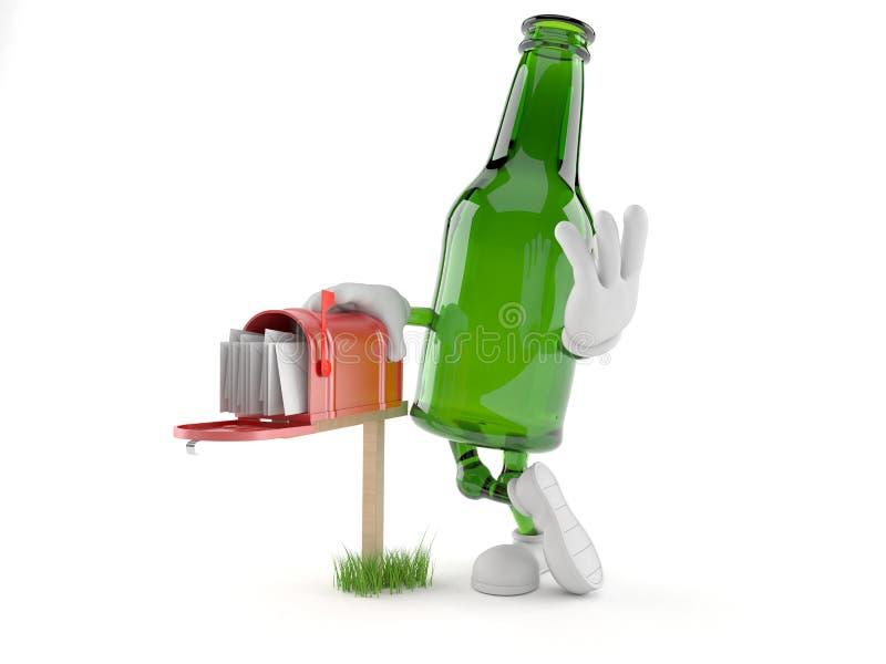 Zielony szklanej butelki charakter z skrzynką pocztowa royalty ilustracja