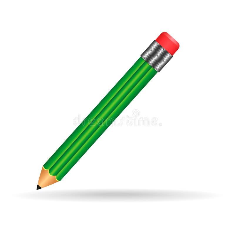 Zielony szkolny ołówek, pióro, ołówek na blackground fotografia stock