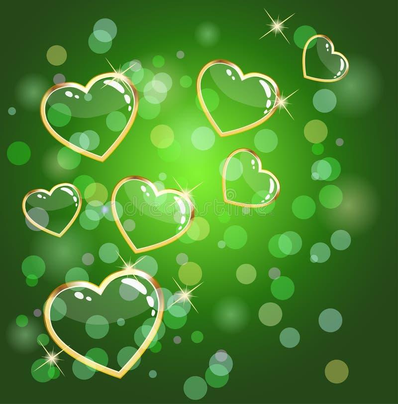zielony tła serce ilustracja wektor