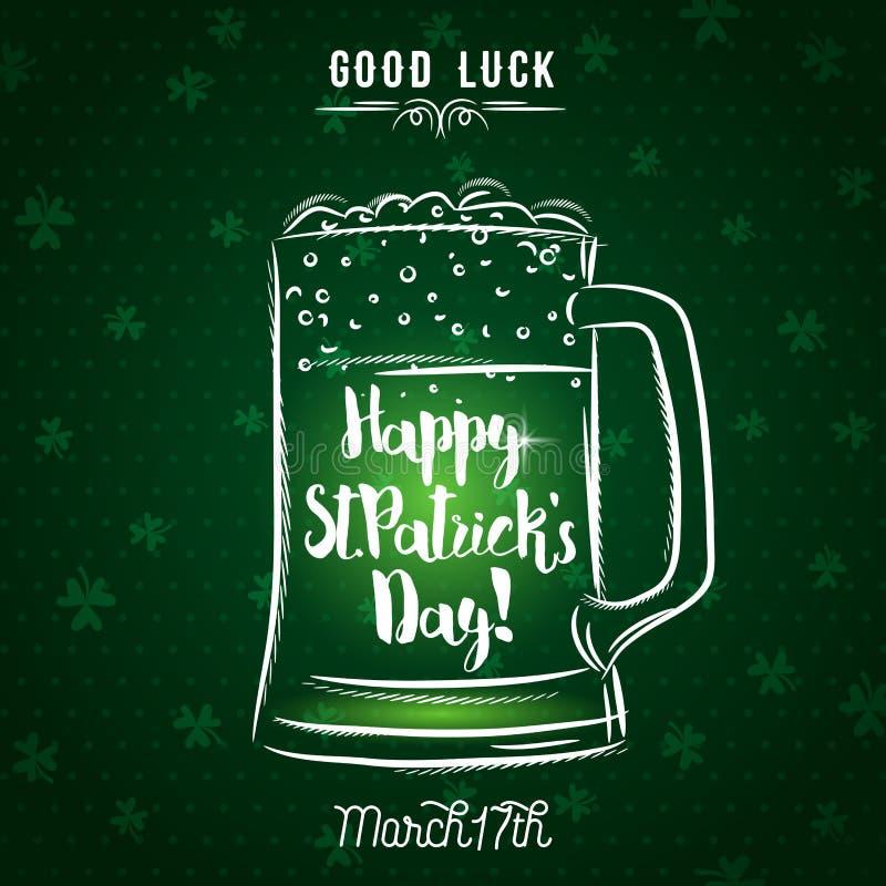 Zielony tło dla St Patrick ` s dnia z piwnym kubkiem, wektor ja royalty ilustracja