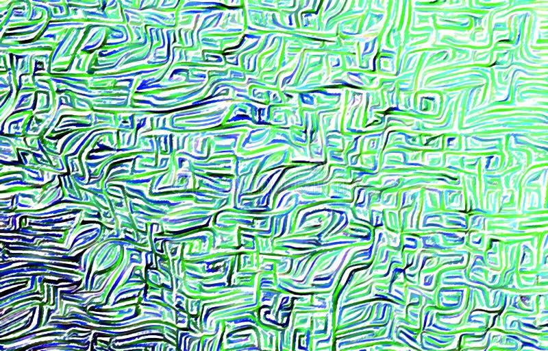 Zielony tło Jaskrawa malująca ściana Symboliczny ornament tła rysunku ołówka drzewny biel royalty ilustracja