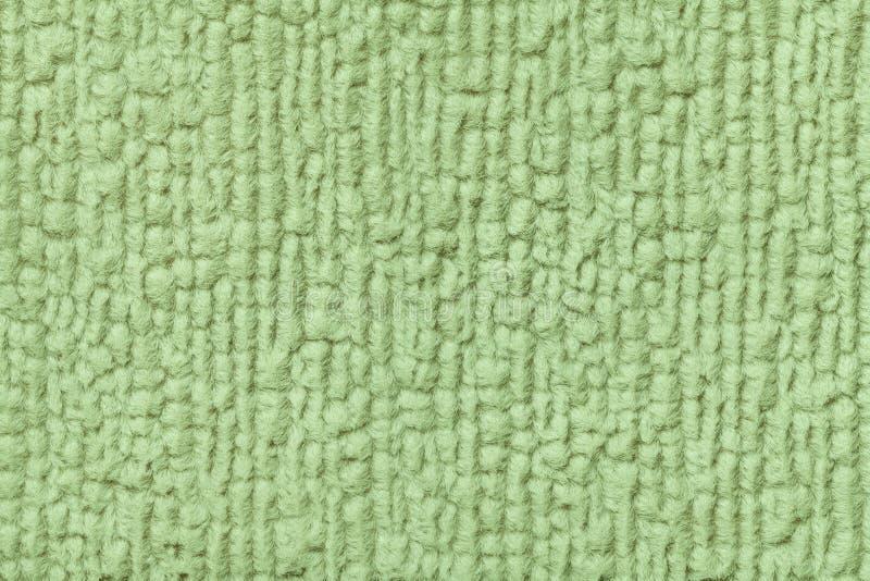 Zielony tło miękka część, wełnisty płótno Tekstura tekstylny zbliżenie obrazy royalty free