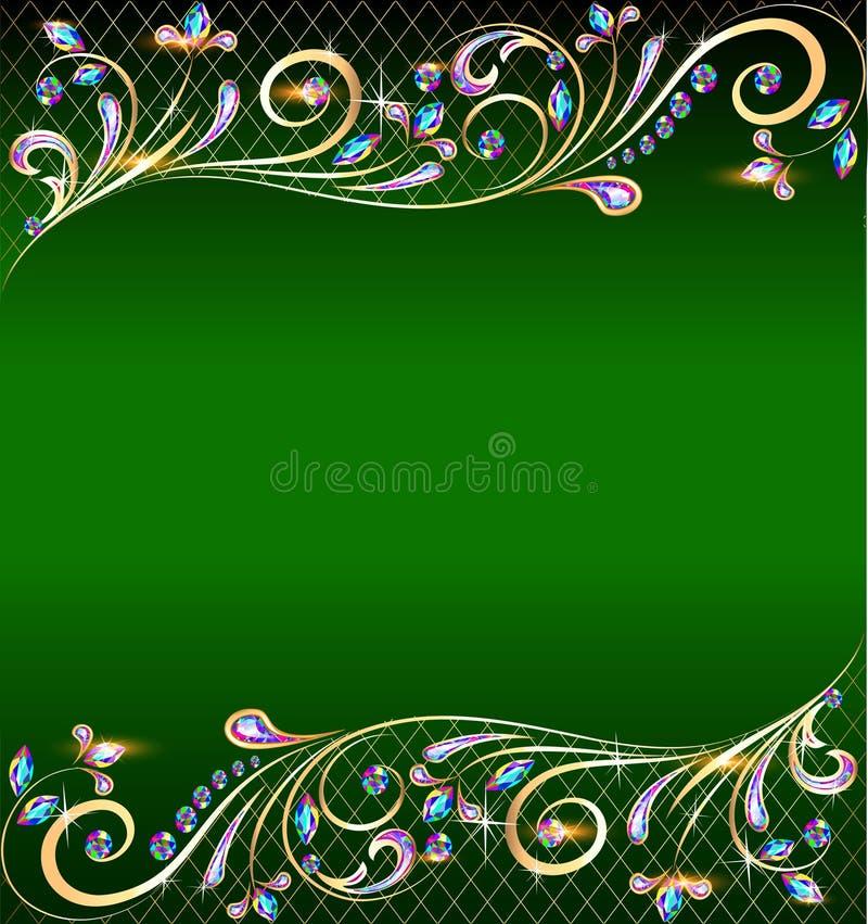 Zielony tło z klejnotami, złotym ornamentem i gwiazdami, ilustracja wektor