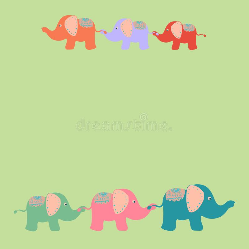 Zielony tło z kolorowymi ślicznymi słoniami chodzi wpólnie royalty ilustracja