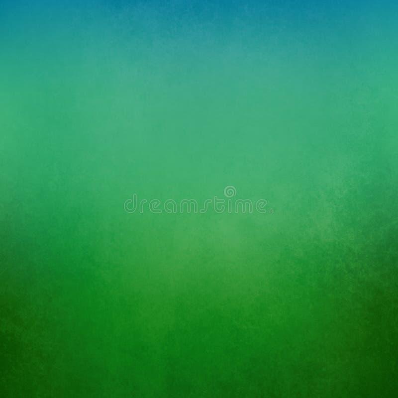 Zielony tło z miękką gradientową jaskrawą błękita wierzchołka granicą na dolnej granicie i stary zakłopotany rocznik tekstury gru royalty ilustracja